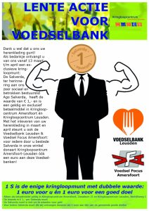 lente actie voor de Voedselbank loopt nog tot eind april; wie ons herenkleding gunt, ontvangt een Salverda munt.